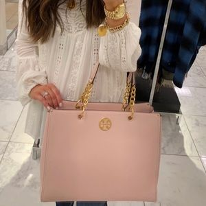 New Tory Burch Everly Leather Tote Shell Pink